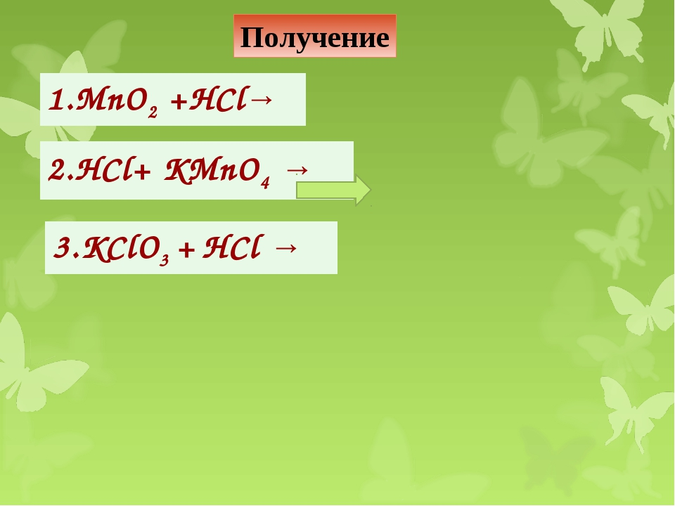 Получение 1.MnO2 +HCl→ 2.HCl+ KMnO4 → 3.KClO3 + HCl →