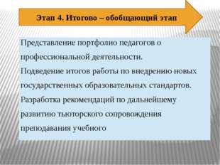 Этап 4. Итогово – обобщающий этап Представление портфолио педагогов о професс