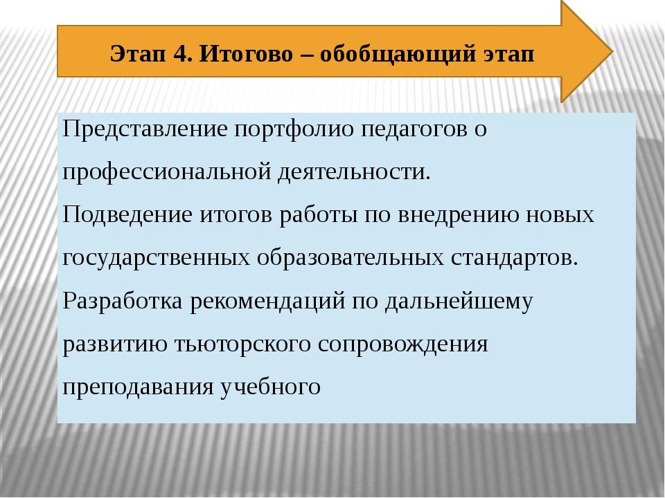 Этап 4. Итогово – обобщающий этап Представление портфолио педагогов о професс...