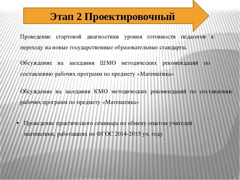 Этап 2 Проектировочный Проведение стартовой диагностики уровня готовности пед...