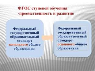 ФГОС ступеней обучения -преемственность и развитие Федеральный государственны