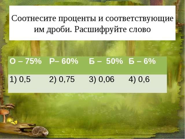 Соотнесите проценты и соответствующие им дроби. Расшифруйте слово О –75% Р– 6...