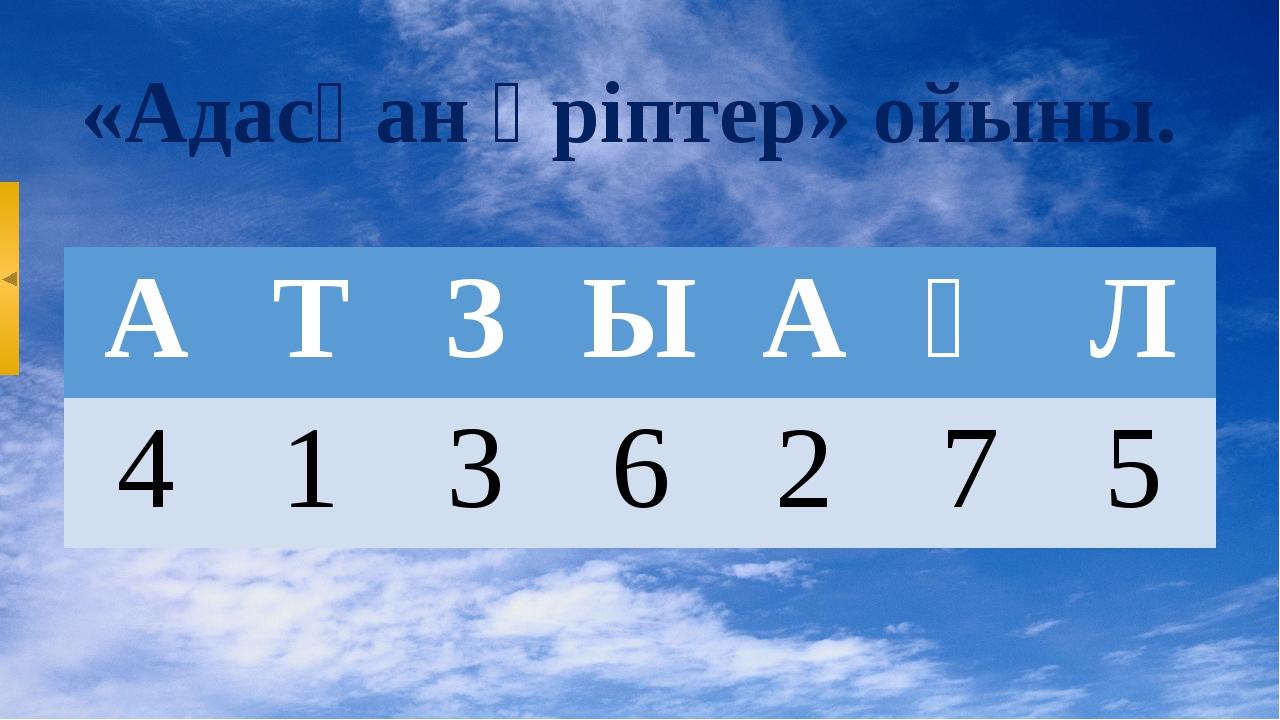 «Адасқан әріптер» ойыны. А Т З Ы А Қ Л 4 1 3 6 2 7 5