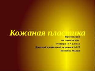 Кожаная пластика Презентация по технологиям ученицы 11-А класса Донецкой проф