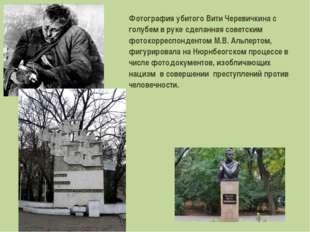 Фотография убитого Вити Черевичкина с голубем в руке, сделанная советским фот