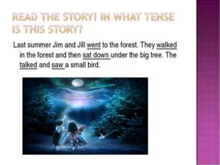 Last summer Jim and Jill went to the forest. They walked in the forest and th
