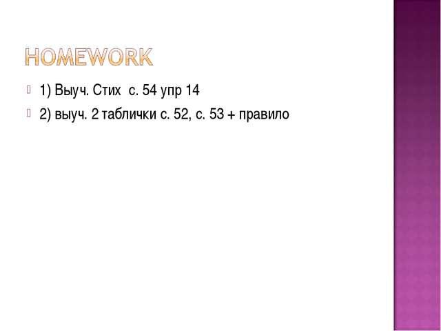 1) Выуч. Стих с. 54 упр 14 2) выуч. 2 таблички с. 52, с. 53 + правило