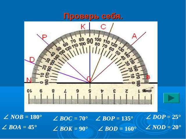 Проверь себя.  NOB = 180°  BOA = 45°  BOC = 70°  BOK = 90°  BOP = 135° ...