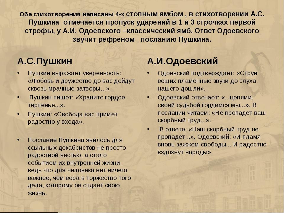 Оба стихотворения написаны 4-х стопным ямбом , в стихотворении А.С. Пушкина о...