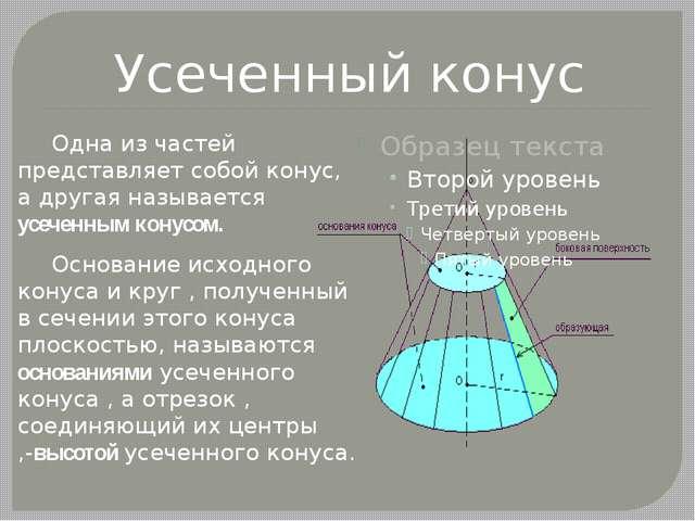 Усеченный конус Одна из частей представляет собой конус, а другая называется...