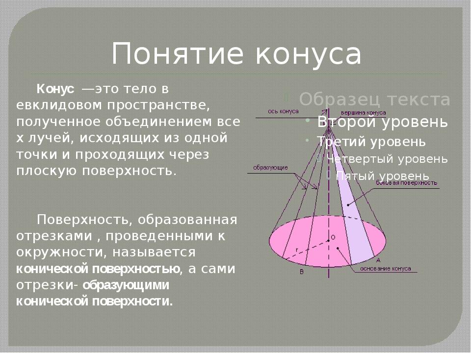 Понятие конуса Конус—этотелов евклидовом пространстве, полученноеобъеди...