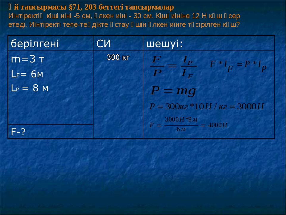 Үй тапсырмасы §71, 203 беттегі тапсырмалар Иінтіректің кіші иіні -5 см, үлкен...