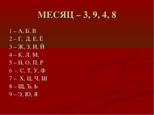 МЕСЯЦ – 3, 9, 4, 8 1 – А, Б, В 2 – Г, Д, Е, Ё 3 – Ж, З, И, Й 4 – К, Л, М, 5 –