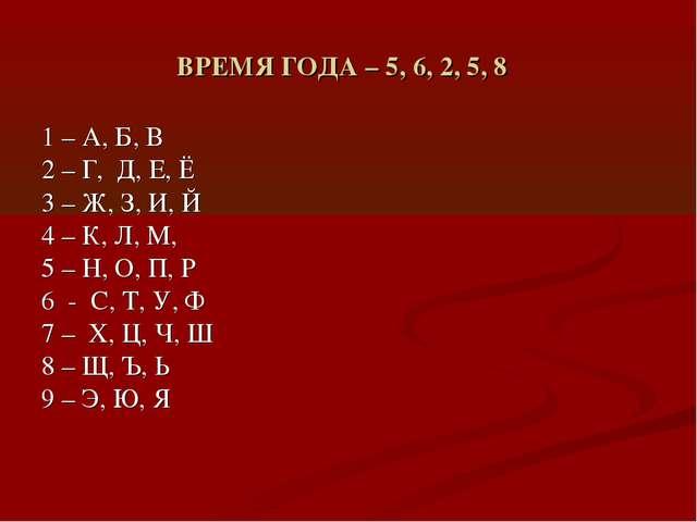 ВРЕМЯ ГОДА – 5, 6, 2, 5, 8 1 – А, Б, В 2 – Г, Д, Е, Ё 3 – Ж, З, И, Й 4 – К, Л...