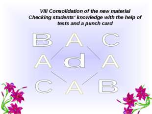 VIII Consolidation of the new material Checking students' knowledge with the