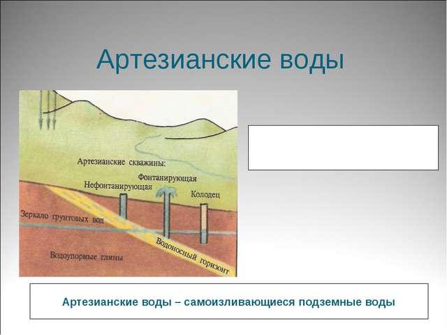 Артезианские воды Артезианские воды – самоизливающиеся подземные воды XII век...