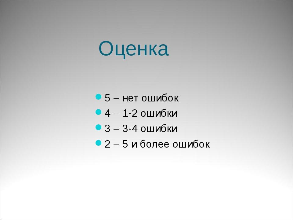 Оценка 5 – нет ошибок 4 – 1-2 ошибки 3 – 3-4 ошибки 2 – 5 и более ошибок