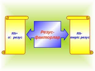 Резус- факторлар Rh+ оң резус Rh- теріс резус
