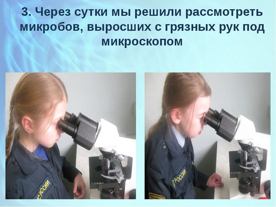 3. Через сутки мы решили рассмотреть микробов, выросших с грязных рук под мик...