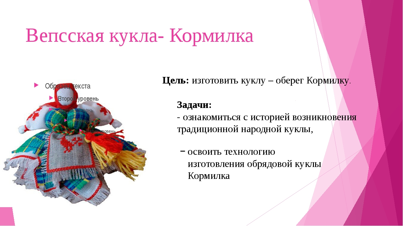 Вепсская кукла- Кормилка Цель: изготовить куклу – оберег Кормилку. Задачи: -...