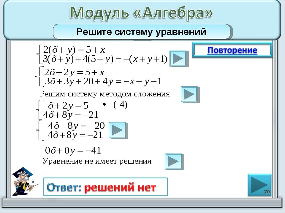 (-4) * Решите систему уравнений Решим систему методом сложения Уравнение не и...