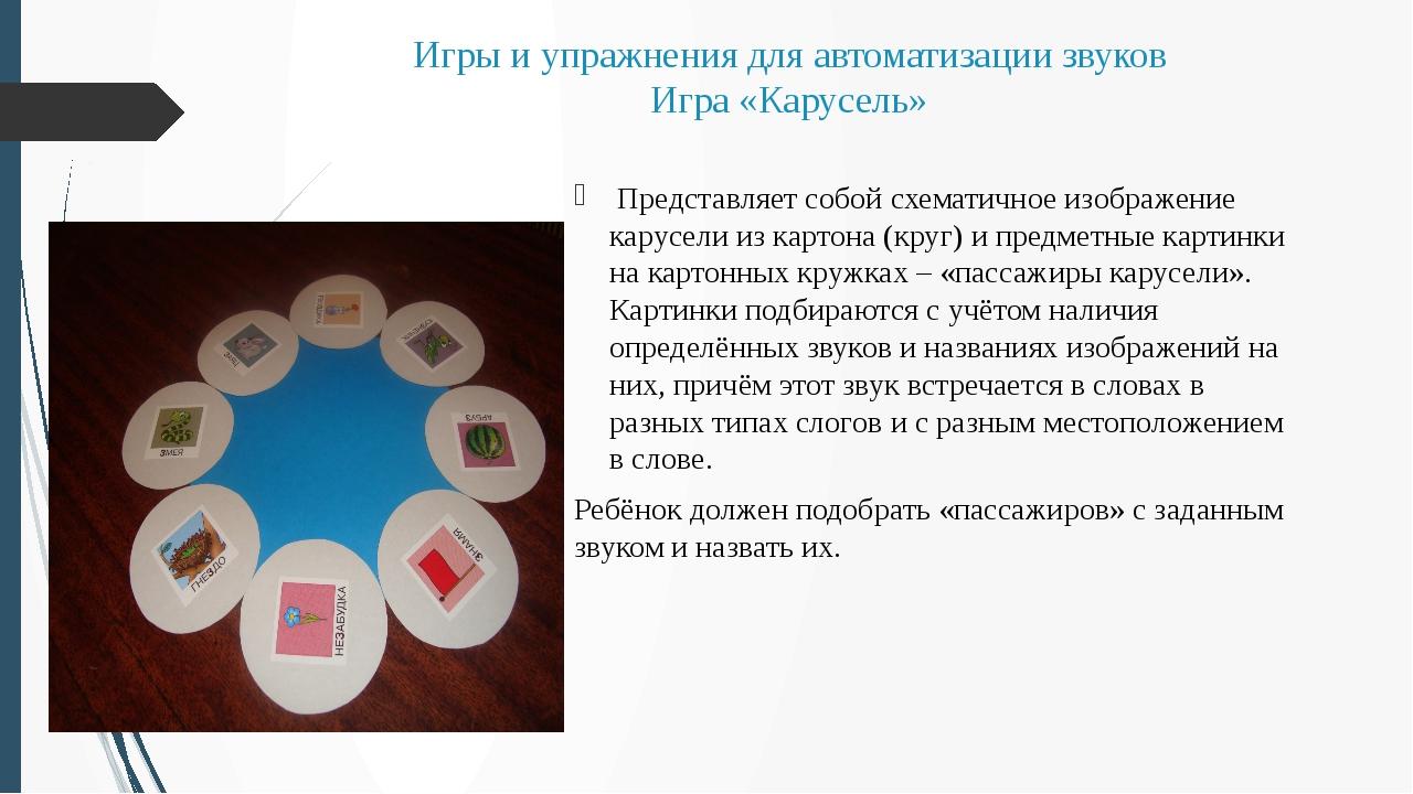 Игры и упражнения для автоматизации звуков Игра «Карусель» Представляет собой...