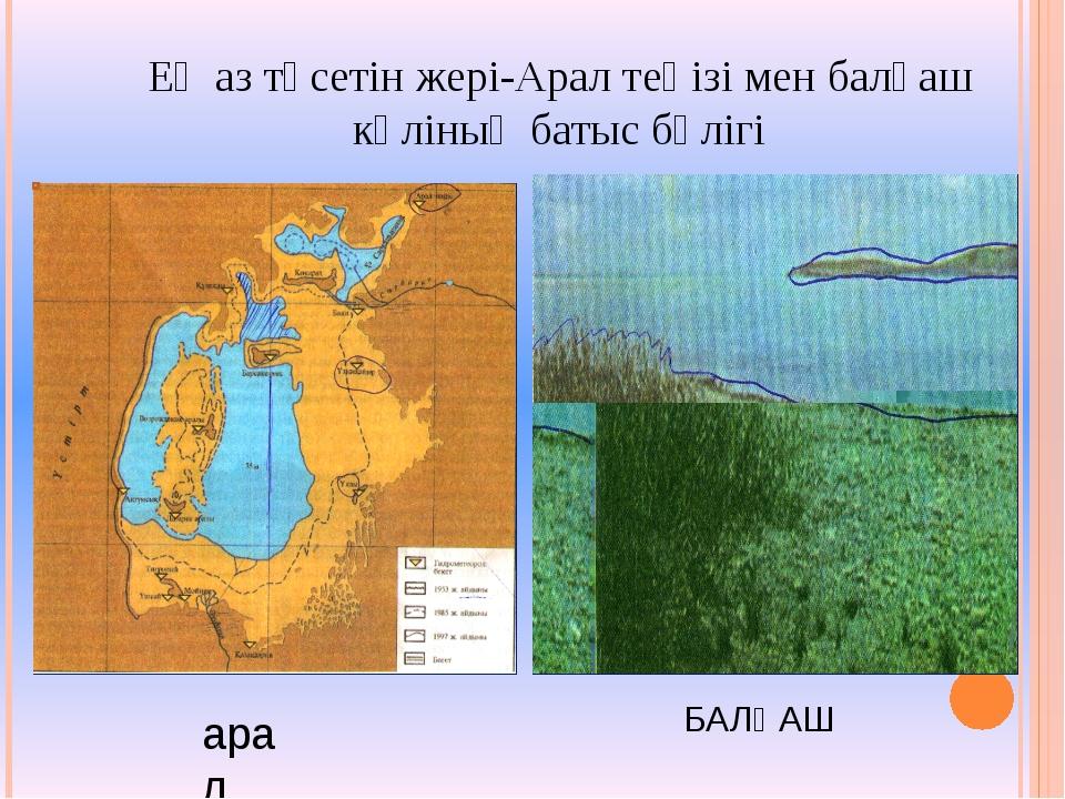 Ең аз түсетін жері-Арал теңізі мен балқаш көліның батыс бөлігі