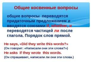 Общие косвенные вопросы общие вопросы переводятся придаточным предложением и