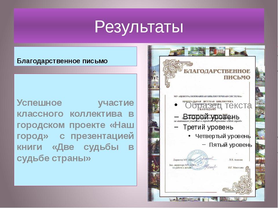 Результаты Благодарственное письмо Успешное участие классного коллектива в го...