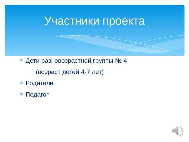 Дети разновозрастной группы № 4 (возраст детей 4-7 лет) Родители Педагог Учас...