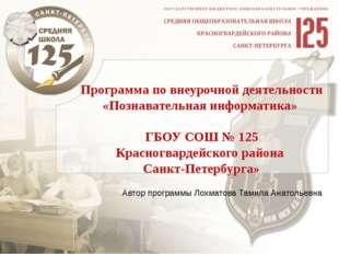 Программа по внеурочной деятельности «Познавательная информатика» ГБОУ СОШ №