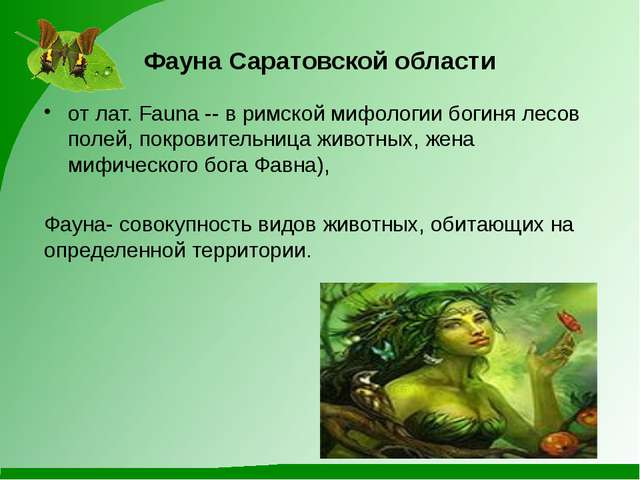 Фауна Саратовской области от лат. Fauna -- в римской мифологии богиня лесов п...