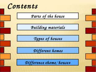 Contents Parts of the house Types of houses Different homes Difference «home/