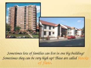 Sometimes lots of families can live in one big building! Sometimes they can b