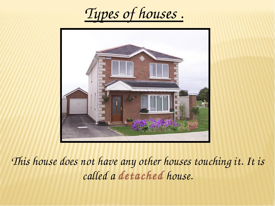 Types of houses . This house does not have any other houses touching it. It i...
