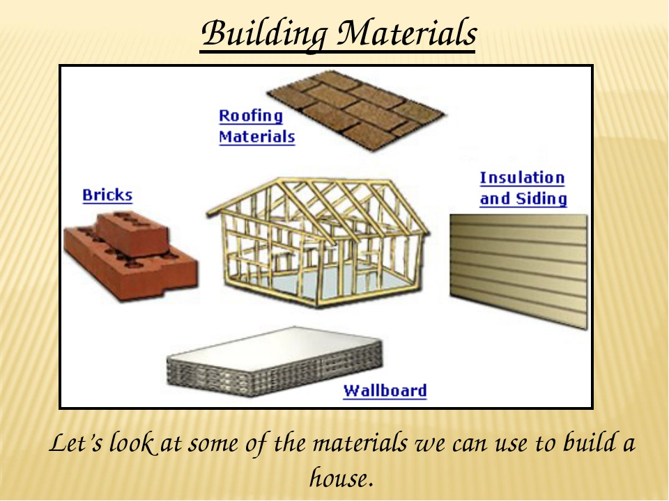 Building Materials Let's look at some of the materials we can use to build a...