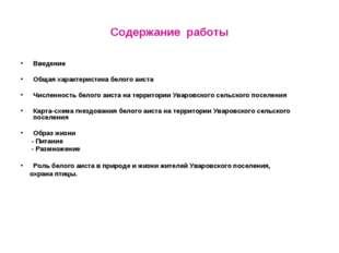 Содержание работы Введение Общая характеристика белого аиста Численность бело