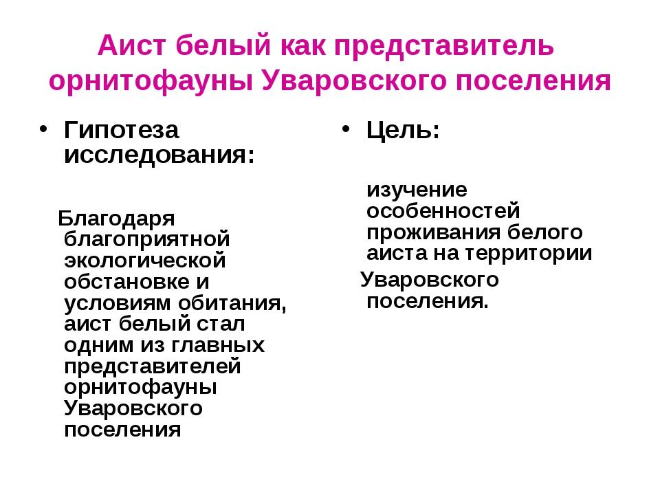 Аист белый как представитель орнитофауны Уваровского поселения Гипотеза иссле...
