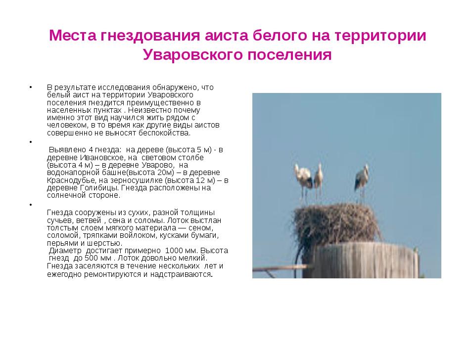Места гнездования аиста белого на территории Уваровского поселения В результа...
