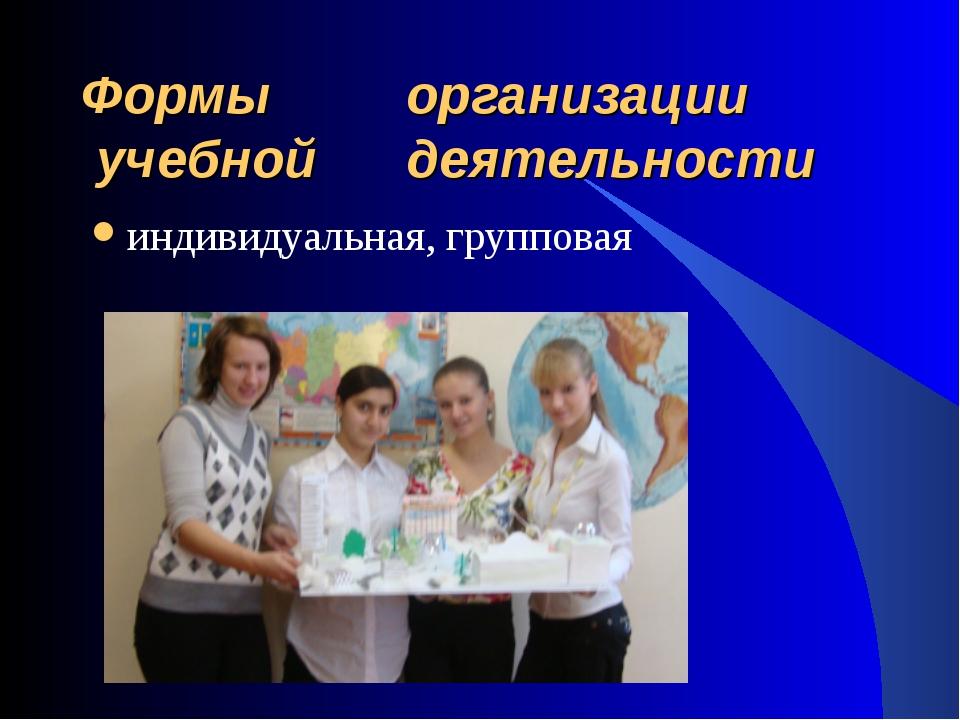 Формы организации учебной деятельности индивидуальная, групповая