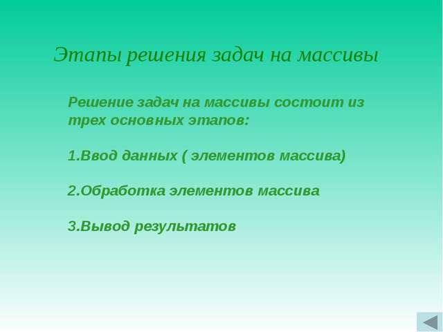 Работа с элементами одномерных массивов Массивы бывают и а также в Турбо Паск...