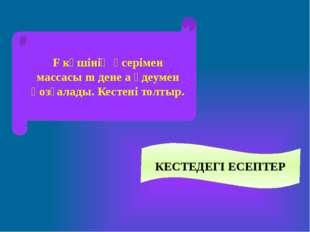 КЕСТЕДЕГІ ЕСЕПТЕР F күшінің әсерімен массасы m дене a үдеумен қозғалады. Кест