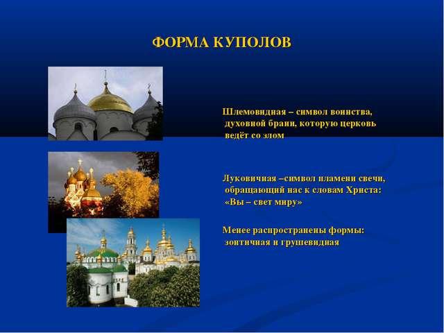 ФОРМА КУПОЛОВ Шлемовидная – символ воинства, духовной брани, которую церковь...