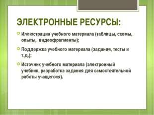 ЭЛЕКТРОННЫЕ РЕСУРСЫ: Иллюстрация учебного материала (таблицы, схемы, опыты,