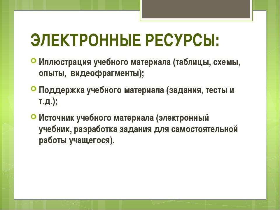 ЭЛЕКТРОННЫЕ РЕСУРСЫ: Иллюстрация учебного материала (таблицы, схемы, опыты, ...