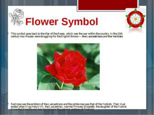 Flower Symbol This symbol goes back to the War of the Roses, which was the wa