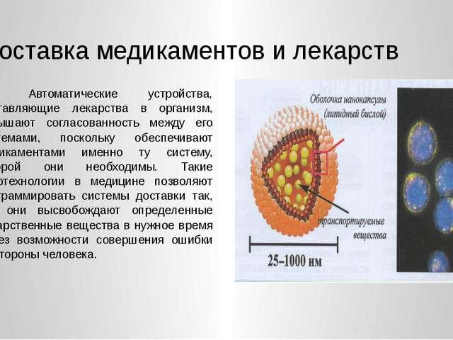 Доставка медикаментов и лекарств 1. Автоматические устройства, доставляющие...