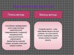 Оценка метода проектов Плюсы метода Минусы метода Способствует формированию ц
