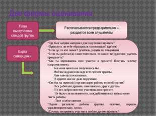 Две формы оценивания План выступления каждой группы Распечатывается предварит