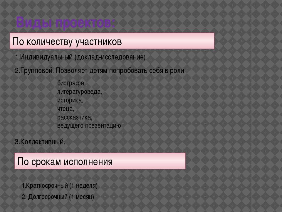 Виды проектов: 1.Индивидуальный (доклад-исследование) По количеству участнико...